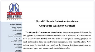 Metro DC Hispanic Contractors Association:  Corporate Advisory Council Notes